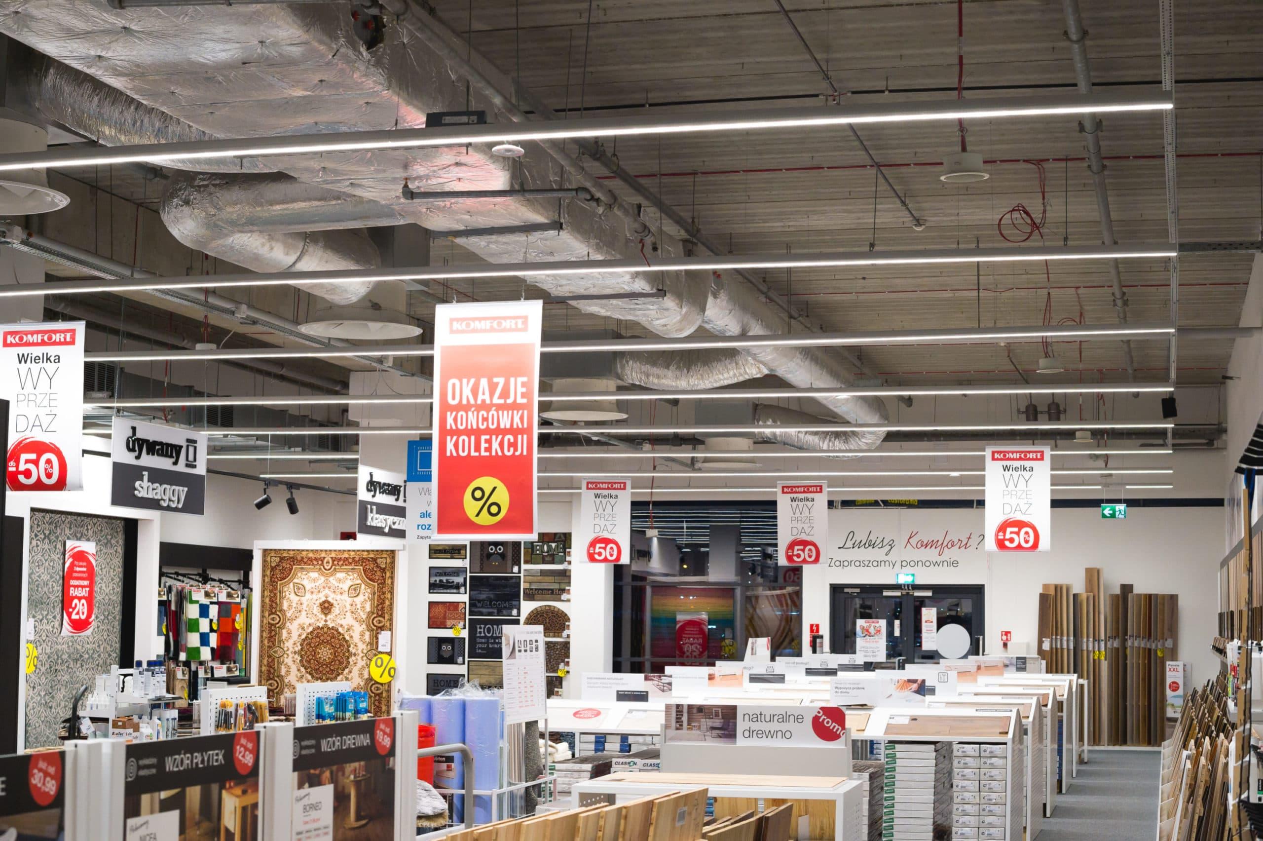Linie świetlne Lumiline w sklepie Komfort w Katowicach - Luxon LED