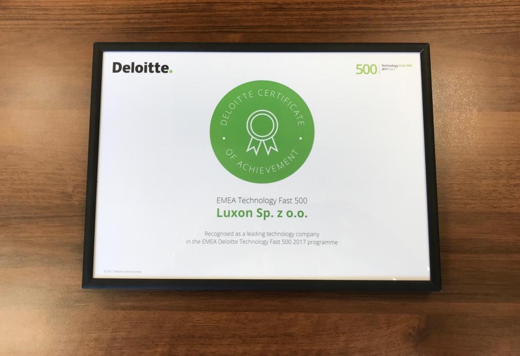 Certyfikat Deloitte EMEA Technology Fast 500 - Luxon LED