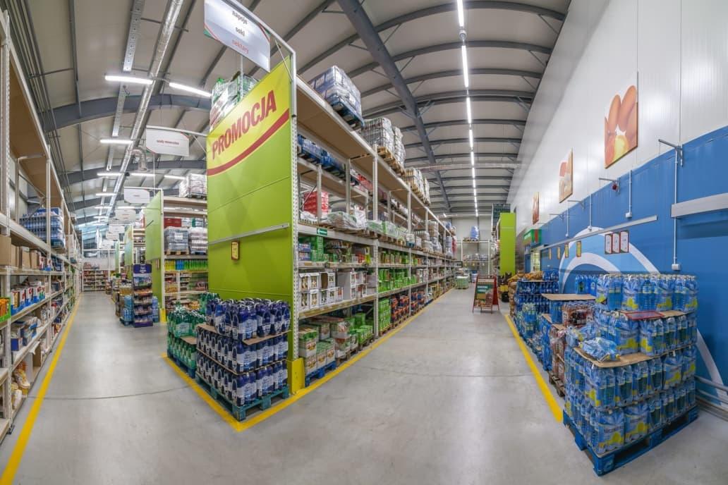sklep Eurocash po modernizacji oświetlenia