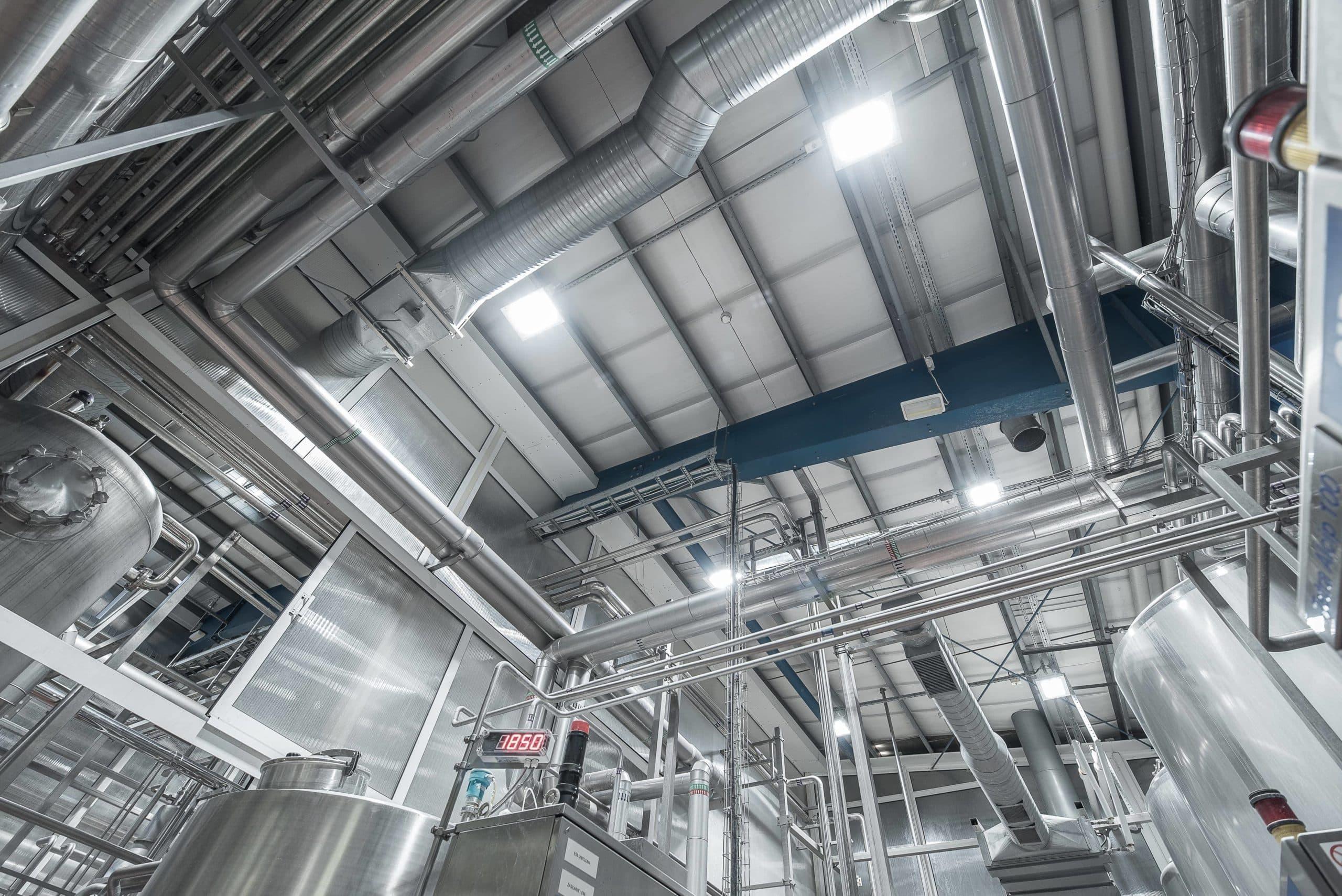 Oprawy Highbay w zakładzie produkcyjnym firmy PepsiCo - Luxon LED